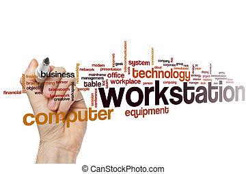 estación de trabajo, palabra, nube