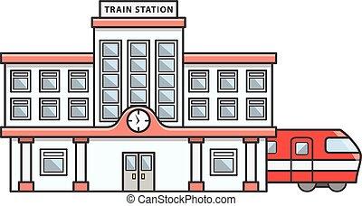 estación de tren, garabato, ilustración