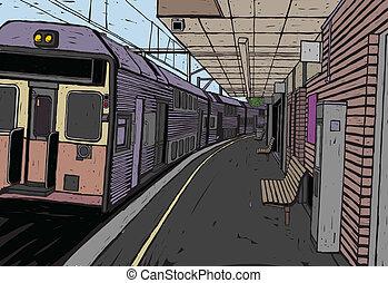 estación de tren, plataforma, y, tren