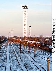 estación del ferrocarril, en, invierno