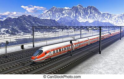 estación del ferrocarril, en, montañas, con, tren de alta velocidad