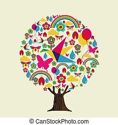 estación del resorte, árbol, de, colorido, primavera, iconos