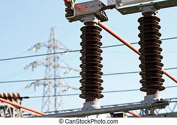estación, eléctrico, insulators, potencia, de alto voltaje