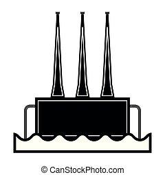 estación, energía hidroeléctrica, icono