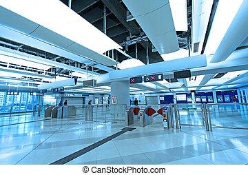 estación, entrada, tren, hong kong