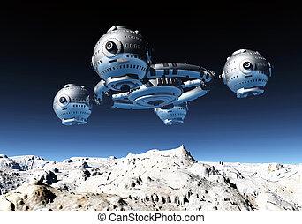 estación espacial, en, un, distante, mundo