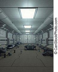 estación espacial, percha, cubierta
