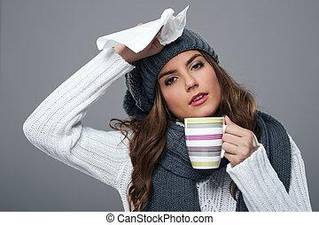 estación, frío, gripe