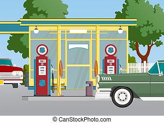 estación, gas, retro