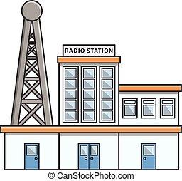 estación, ilustración, radio, garabato