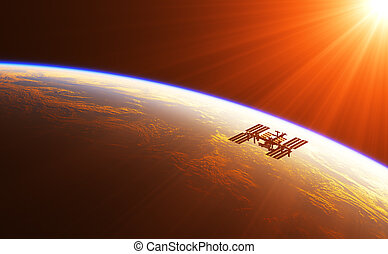 estación internacional espacio, en, el, rayos, de, sol creciente