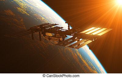 estación internacional espacio, en, el, rayos del sol