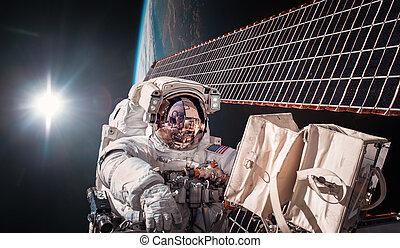 estación internacional espacio, y, astronaut.