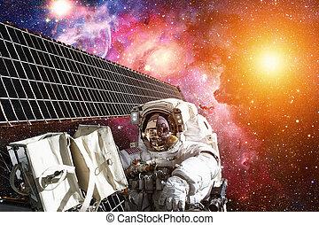 estación internacional espacio, y, astronauta, en, espacio exterior, encima, el, planeta, earth.