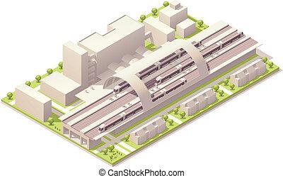 estación, isométrico, tren, moderno