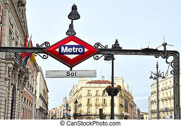 estación metro, señal, en, madrid, españa