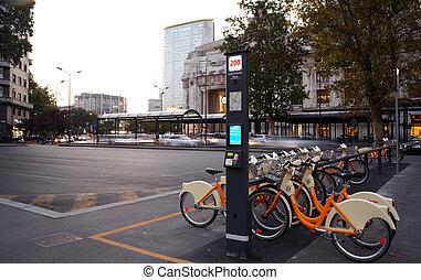 estación, milan, compartir, bicicleta