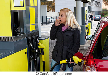 estación, mujer, gas, repostar