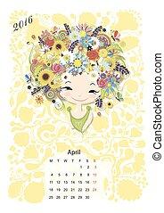 estación, niñas, abril, 2016, month., diseño, calendario