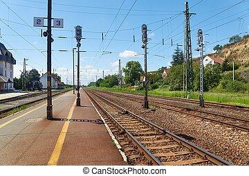 estación, pistas, ferrocarril