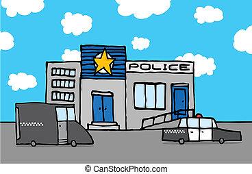 estación, policía, caricatura