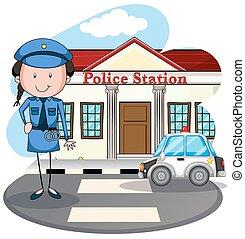 estación, policía, trabajando, mujer policía