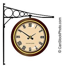 estación, reloj