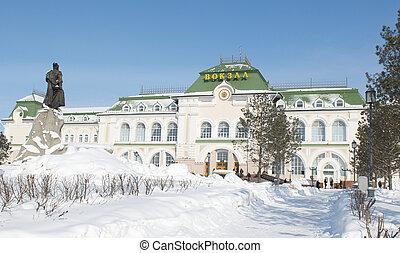 estación, tren, khabarovsk