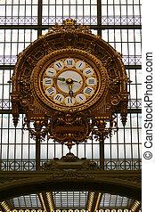 estación, tren, reloj