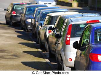 estacionado, carros, em, rua