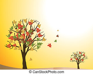 estacional, árbol, otoño