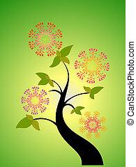 estacional, árbol, y, flor