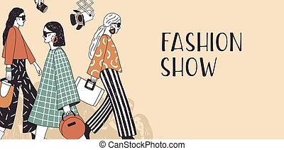 estacional, ambulante, desfile de modas, catwalk., moderno, acontecimiento, cima, plantilla, dibujado, promoción, llevando, colorido, modelos, ilustración, mano, por, bandera, pista, advertisement., vector, o, ropa