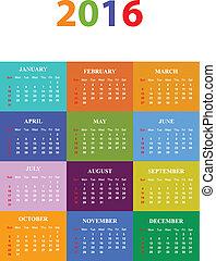 estacional, calendario, 2016