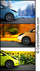 estacional, coche, alto, plano de fondo, velocidad, paisaje