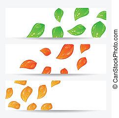 estacional, conjunto, hojas, otoño, tarjetas, cambiar