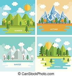 estacional, conjunto, tiempo, paisajes
