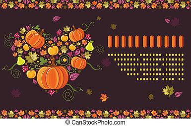estacional, otoño, tarjeta de felicitación, 6