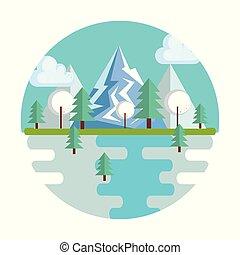 estacional, paisaje tiempo, icono