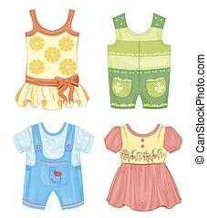 estacional, ropa, conjunto, niños