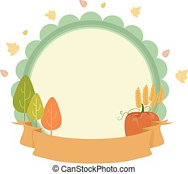estacional, tabla, cinta, otoño