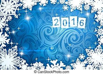 estacional, tarjeta, para, año, 2016, con, helada, fondo