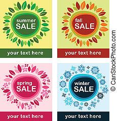 estacional, ventas, carteles