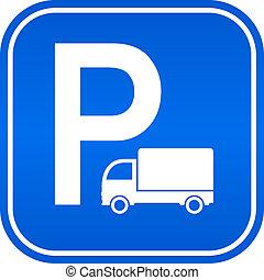 estacionamento, camião, sinal