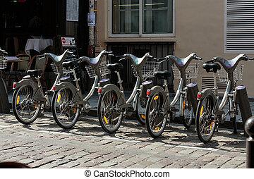 estacionamento, de, bicycles, aluguel, ruas, de, paris