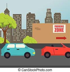 estacionamento, zona, design.