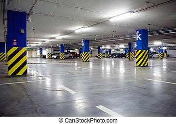 estacionamiento, de, centro comercial, metro, interior