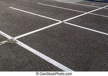 estacionamiento, lotzs, líneas, dibujado, asfalto