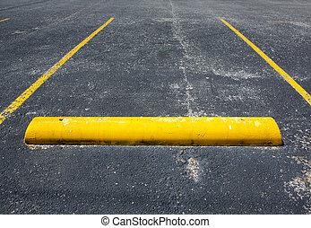 estacionamiento, viejo, espacio vacío