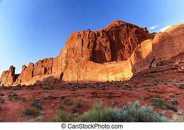 estacione avenida, seção, arcos parque nacional, moab, utah